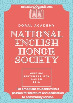 National English Honor Society - First Meeting Tues. Sept. 11