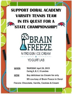 TENNIS TEAM BRAIN FREEZE FUNDRAISER