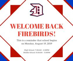 School Begins Monday, August 19th, 2019